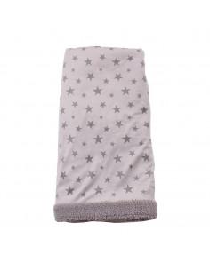 Manta 100x75 cm gris. Reversible imprimé estrellas – aplique estrella