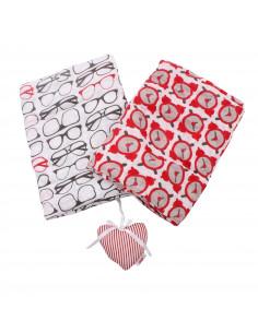 Pack de 2 Muselinas niñas extra largas con imprimé y su corazoncito de algodón