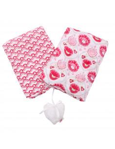 Pack de 2 Muselinas neutras extra largas con imprimé y su corazoncito de algodón