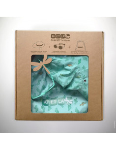Bolsa de tela con Gorro anti-UV 45/47 azul menta cactus + Gafa de sol T1Diabola
