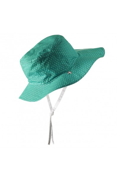 Gorro reversible 100% Anti UV talla 45/47 verde con topitos blancos