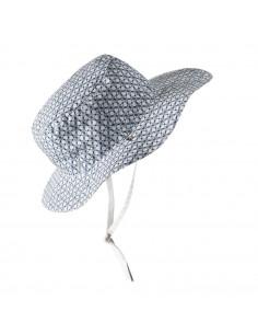 Gorro reversible 100% Anti UV talla 50/52 con estampado geométrico blanco/azul