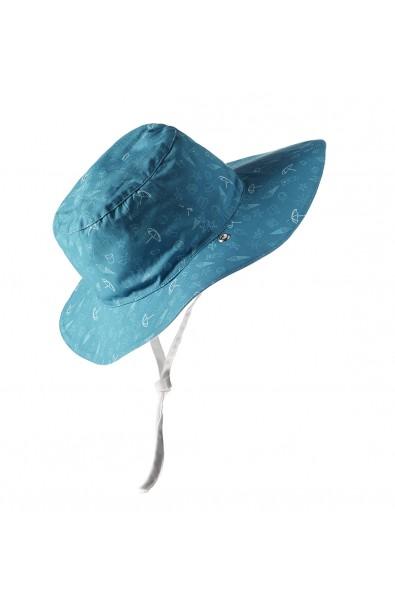 Gorro reversible 100% Anti UV talla 50/52 azul con estampado blanco
