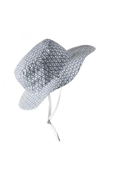 Gorro reversible 100% Anti UV talla 52/54 con estampado geométrico blanco/azul