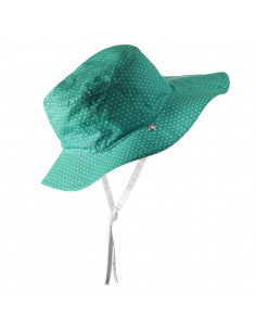 Gorro reversible 100% Anti UV talla 52/54 verde con topitos blancos