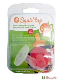 Set de 2 boquillas ergonómicas de silicona SQUIZ'TOP para bolsa de alimentación