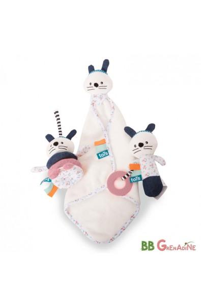 Caja de regalo: Doudou, Sonajero y peluche · conejita