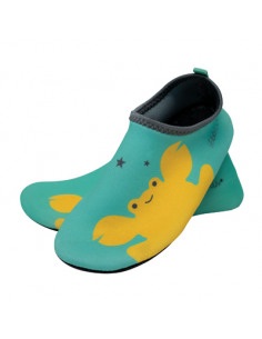 Calzado de baño Shoöz en neopreno Aqua. Zapatos de agua de color azul y amarillo.