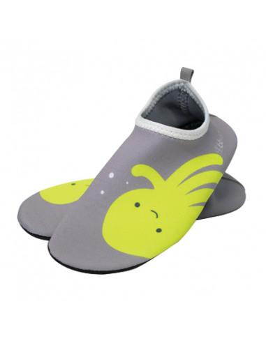 Calzado de baño Shoöz en neopreno Gris. Zapatos de agua de color gris y verde.