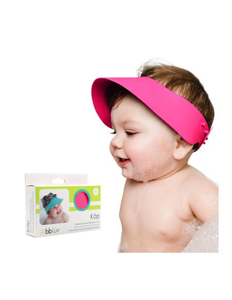 Käp (Rosa) - Visera de baño Silicona. Bebé con la visera de baño de silicona y la caja.