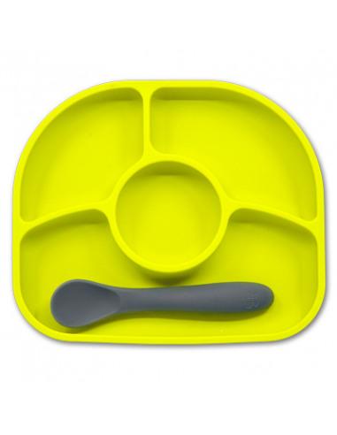 Yumï – Prato de silicone hipoalergénico e antibacterias, antideslizante. 4 compartimentos + colher de silicone flexivel - Lima