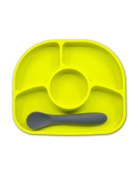 Yumï - Plato de silicona hipoalergénica y antibacterias, antideslizante. 4 compartimientos + cuchara de silicona flexible - Lima