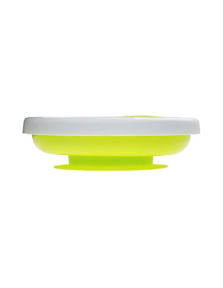 Platö - Plato con sistema de reserva de agua caliente y ventosa - Lima. Plato de color blanco y verde visto de frente.