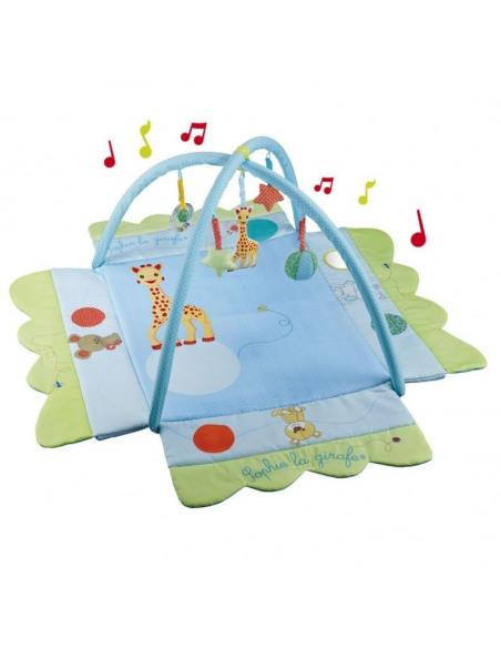Evolumat' Sophie la girafe. Espacio de juego y descanso cuadrado de color azul y verde