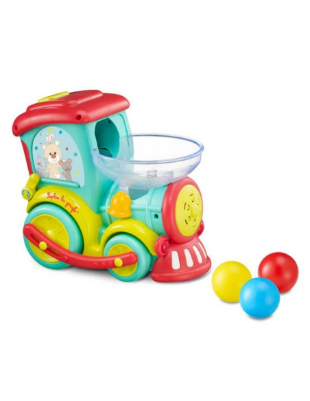 Tren Magik Pop Sophie la girafe. Tren de color azul, rojo, amarillo de plástico con un recipiente para insertar bolas de colores