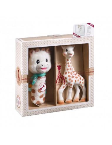Mi primer set Sophie la girafe + Sonajero peluche Cri-Cri. Peluche y mordedor de la jirafa Sophie en la caja.