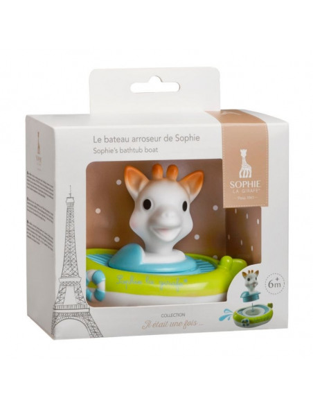 Barquito salpica agua Sophie la girafe. Barquito de colores blanco, azul y verde con la jirafa Sophie en la caja