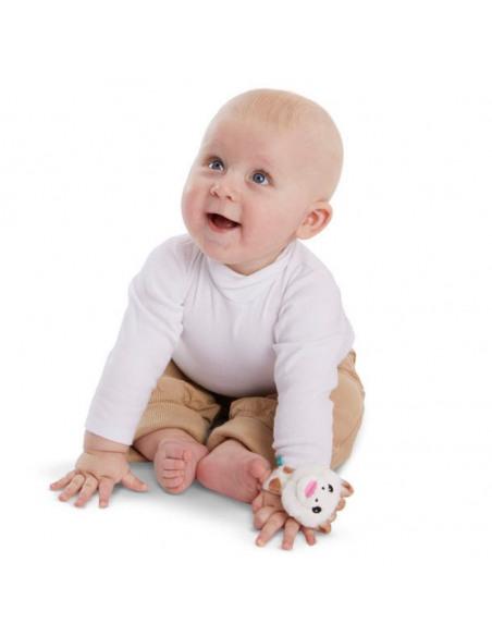 Sonajero Pulsera Sophie. Pulsera en muñeca de bebé de peluche con forma de jirafa de colores blanco, marrón, azul y amarillo