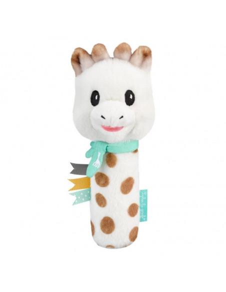 Sonajero peluche Cri-Cri Sophie. Peluche de jirafa con color blanco, azul y marrón