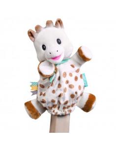 Doudou Marioneta Sophie. Marioneta de peluche que sujeta una mano con forma de jirafa de color blanco, marrón y azul