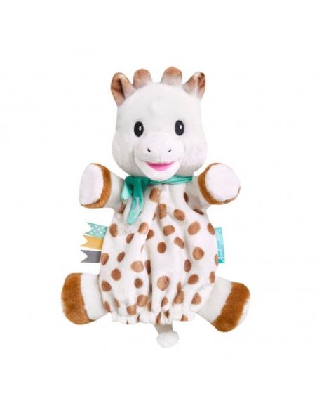 Doudou Marioneta Sophie. Marioneta de peluche con forma de jirafa de color blanco, marrón y azul