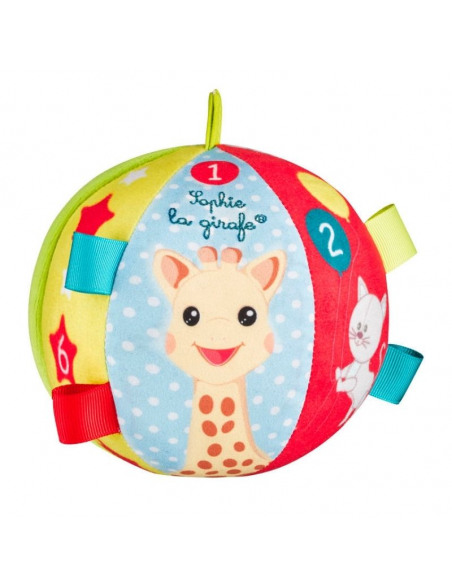 My first early-learning ball. Pelota blanda con una jirafa en el centro de color amarillo, azul y rojo