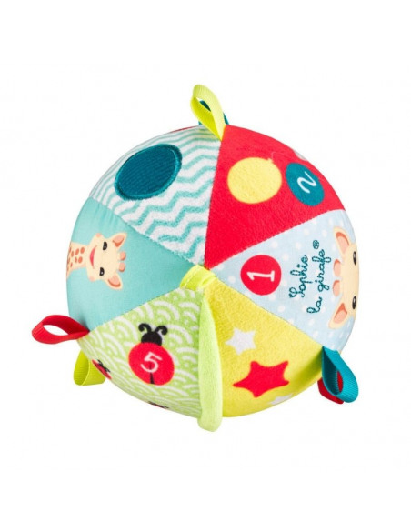 My first early-learning ball. Pelota blanda con una jirafa y con colores amarillo, azul y rojo