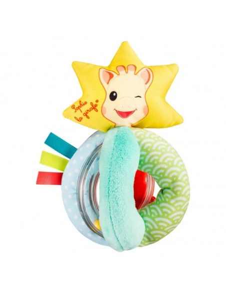 Sonajero bolitas. Sonajero con forma de estrella y el dibujo de sophie la girafe de color amarillo, azul y rojo