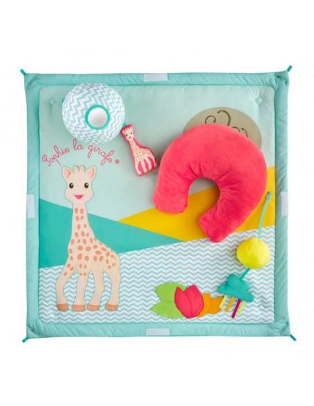 Activi'tipi Sophie la girafe. Alfombra de juego de color azul y con figuras de Sophie la girafe