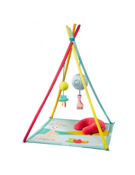 Activi'tipi Sophie la girafe. Centro de juego con forma de cabaña de color azul y con figuras de Sophie la girafe