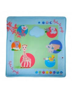 Touch & play mat'. Alfombra de juego musical de color azul y con dibujos de Sophie la girafe