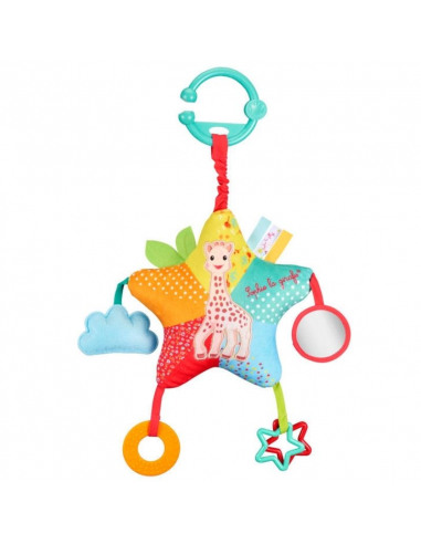 Peluche star activities. Parte delantera peluche con forma de estrella multicolor con el dibujo de la jirafa Sophie.