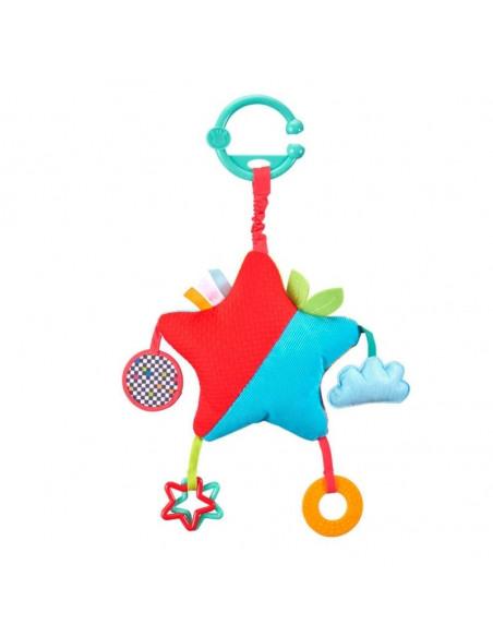 Peluche star activities. Parte trasera peluche con forma de estrella multicolor con el dibujo de la jirafa Sophie.