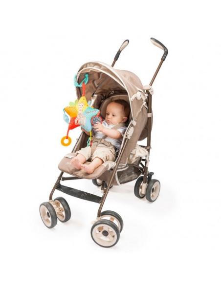 Peluche star activities. Bebé en el carro jugando con peluche con forma de estrella.