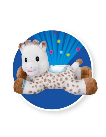 Peluche Light & dreams. Peluche de la jirafa Sophie con un proyector de luz en su interior de color azul.