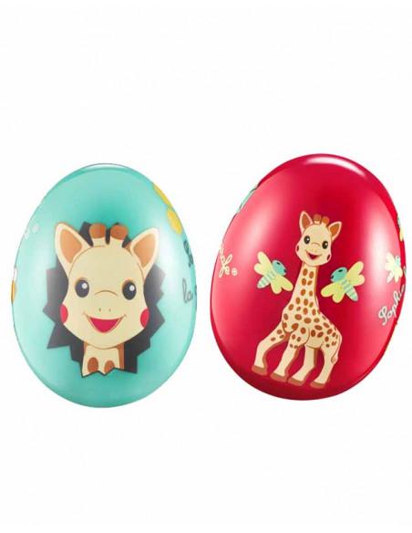 Egg shakers - Tentetieso/Maracas. dos huevos de juguete de color rojo y azul