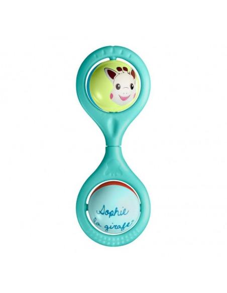 Sonajero Hochet Twist Sophie la girafe. Sonajero de la jirafa Sophie de color azul con dos bolitas.