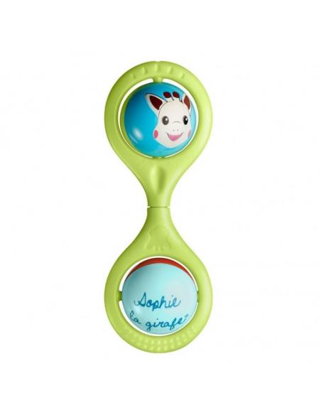 Sonajero Hochet Twist Sophie la girafe. Sonajero de la jirafa Sophie de color verde con dos bolitas.