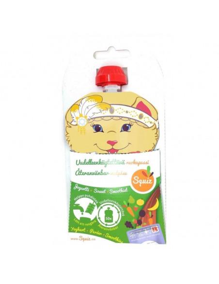 Envase de la bolsa de alimentación reutilizable.
