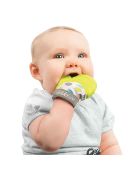 Glüv (Lima) - Manopla para la dentición. Bebé mordiendo la manopla para la dentición.