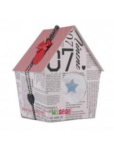 Caja de regalo Casita (incl. body con aplique, pantalón y arrullo de algodón dulce) gris
