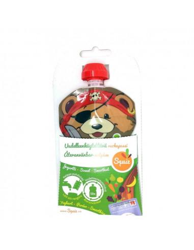 Bolsa de alimentación reutilizable con forma de oso por delante.