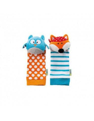 Düo - Calcetines sonajero Búho y Zorro. Calcetines con forma de búho y zorro de color azul y naranja.