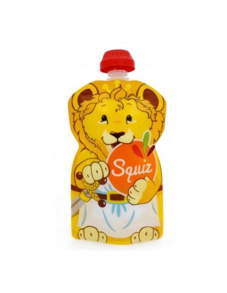 Set de 3 bolsas de alimentación reutilizable, SQUIZ Carnaval 130 ml. + Squiz'Zip. Bolsa con forma de león