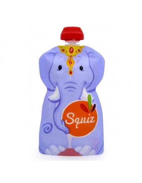 Set de 3 bolsas de alimentación reutilizable, SQUIZ Carnaval 130 ml. + Squiz'Zip. Bolsa con forma de elefante.