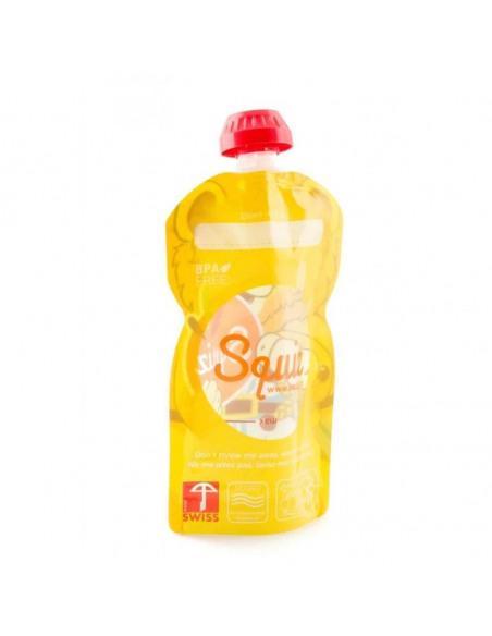 Set de 3 bolsas de alimentación reutilizable, SQUIZ Carnaval 130 ml. + Squiz'Zip. Bolsa con forma de león por detrás.