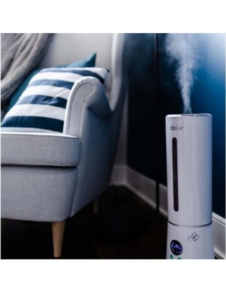 Ümi -  Humidificador ultrasónico y purificador de aire. Humidificador de color blanco en uso.