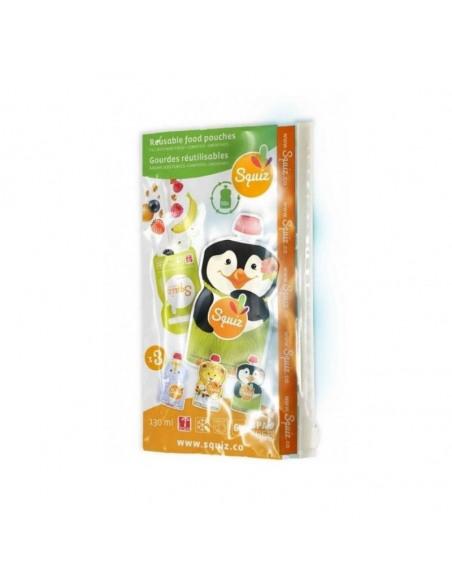 Set de 3 bolsas de alimentación reutilizable, SQUIZ Carnaval 130 ml. + Squiz'Zip. Caja de las bolsas.