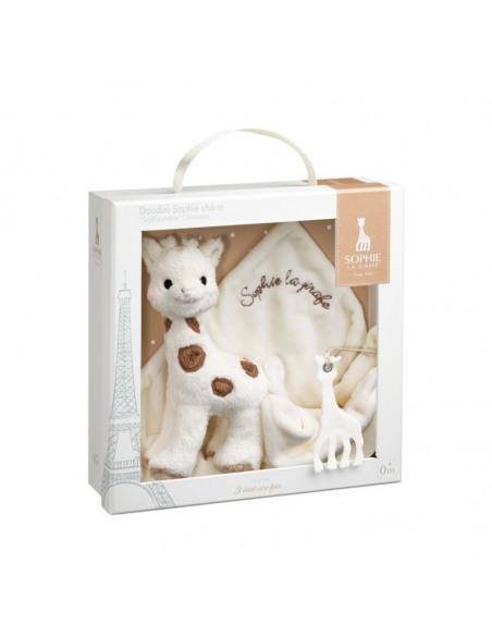 Doudou peluche Sophie Chérie. Peluche de Sophie la girafe y Doudou en la caja.