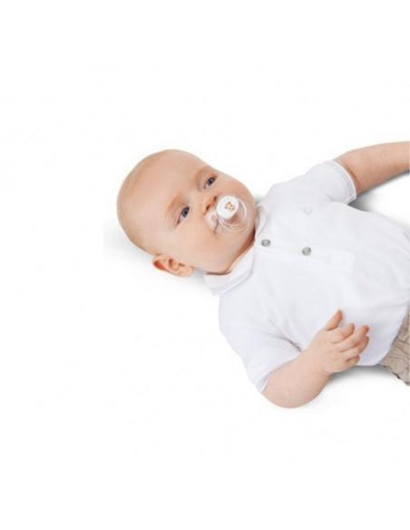 (6-18 meses) 2 Chupetes de Silicona  Sophie la Girafe. Bebé tumbado con el chupete.